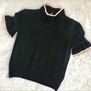 bebe Miranda Ruffled Sweater Top NWT S